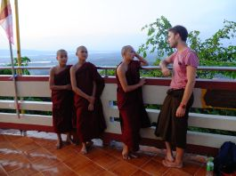 Chat with monks on Mandalay hill